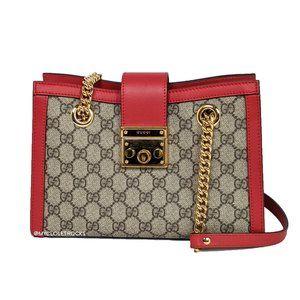 Gucci Red Supreme Padlock Shoulder Bag